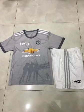 17/18 Cheap Kids Manchester United Third Away Grey Soccer Jersey Uniform Boys Football Jersey Kit Team Uniforms Wholesale