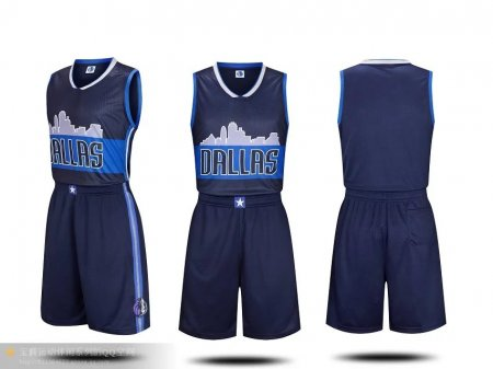 Men's Dallas Mavericks Dirk Nowitzki  Navy Replica Jersey Uniforms Adult Baketball Kits