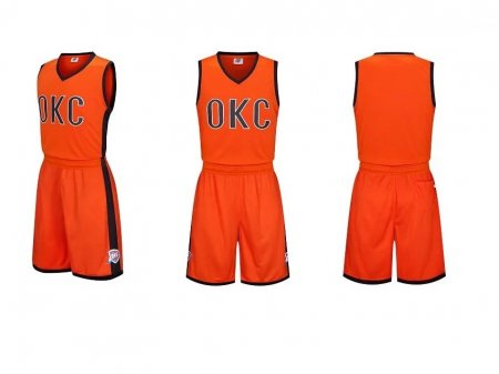 Men's Oklahoma City  Orange Replica Jersey Uniforms Customilez Name Number Adult Basketball Kits