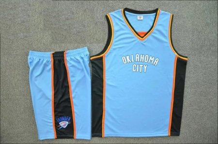 Men's Oklahoma City  Blue Replica Jersey Uniforms Customilez Name Number Adult Basketball Kits