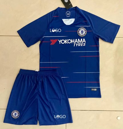 18/19 Cheap Adult Chelsea Home Soccer Jersey Blue Uniform  Men Football Kits Wholesale