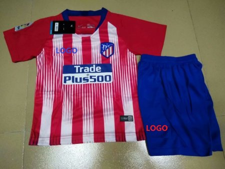 2018/19  Kids Atletico Madrid Home Red Soccer Uniforms Children Football Kits