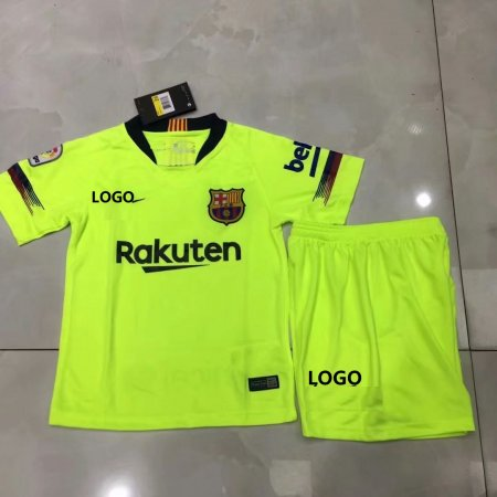 2018/19 Kids Barcelona Away Greeen  With Brand Logo Soccer Kits Children Football Uniform