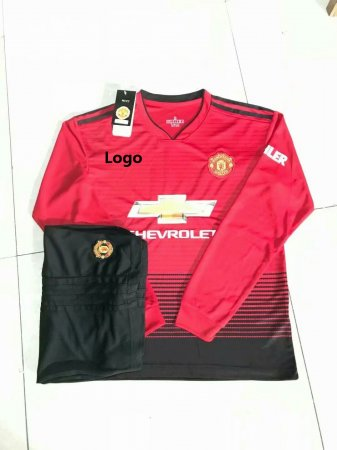 18/19 Adult Manchester United Home Long Sleeve Soccer Jerseys Winter Sport Training Football Uniforms