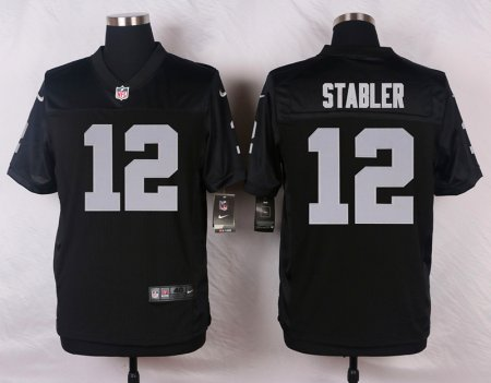 Men's  Oakland Raiders #12 Kenny Stabler Elite Black Team Color NFL Jersey