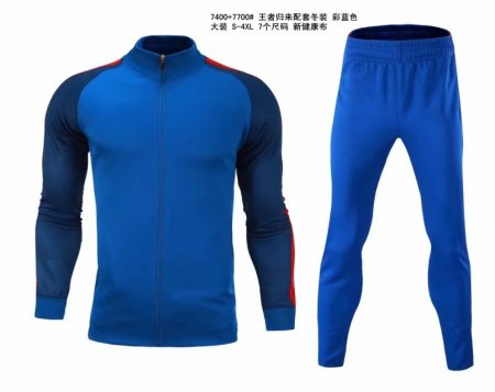 Adult Blank Long Sleeve Soccer Jacket Blue Football Sets