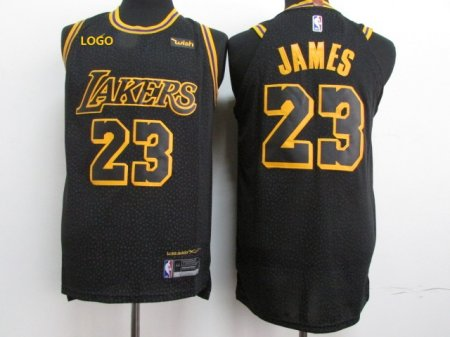 Men Laker Lebron 23 Black Basketball Jersey