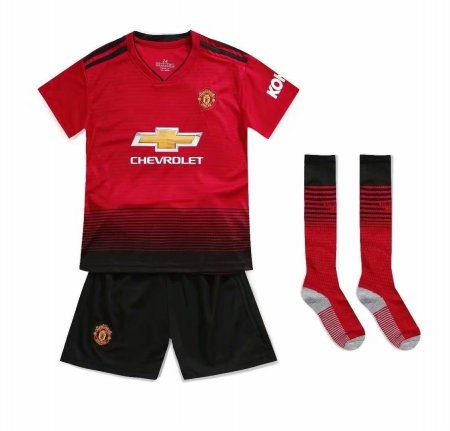 18/19 Kids Manchester United Home Soccer Jersey Kit Football Jersey Uniforms