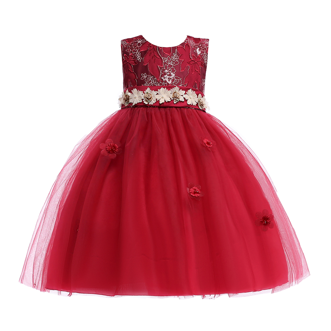 Dress With Flower Pattern Beautiful Flower Girl Dresses With Belt