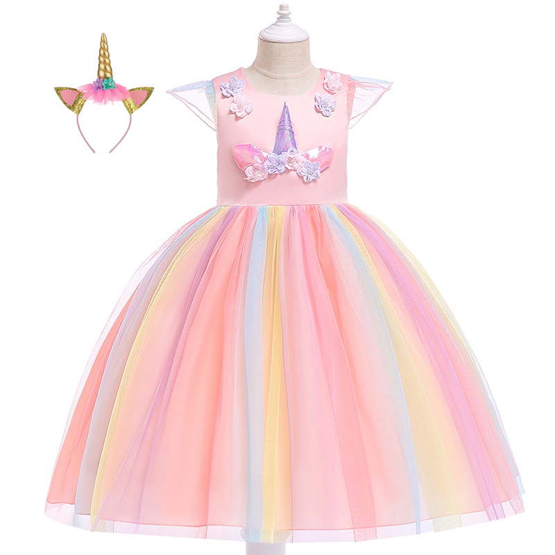 ff4f795f2 Sleeveless Knee Cute Summer Prom Pageant Unicorn Dress with Headband Flower Girl  Dresses for Kids Pageant Birthday Party Ball Gowns Summer Tutu Special ...