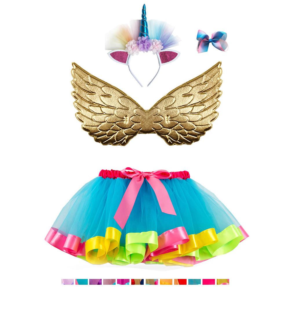 209e340d8773 ... Little Girls Layered Rainbow Tutu Skirts with Unicorn Horn Headband  Unicorn Tutu Party Dress for Girls
