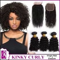 Kinky Curl Virgin Hair With Closure 3+1