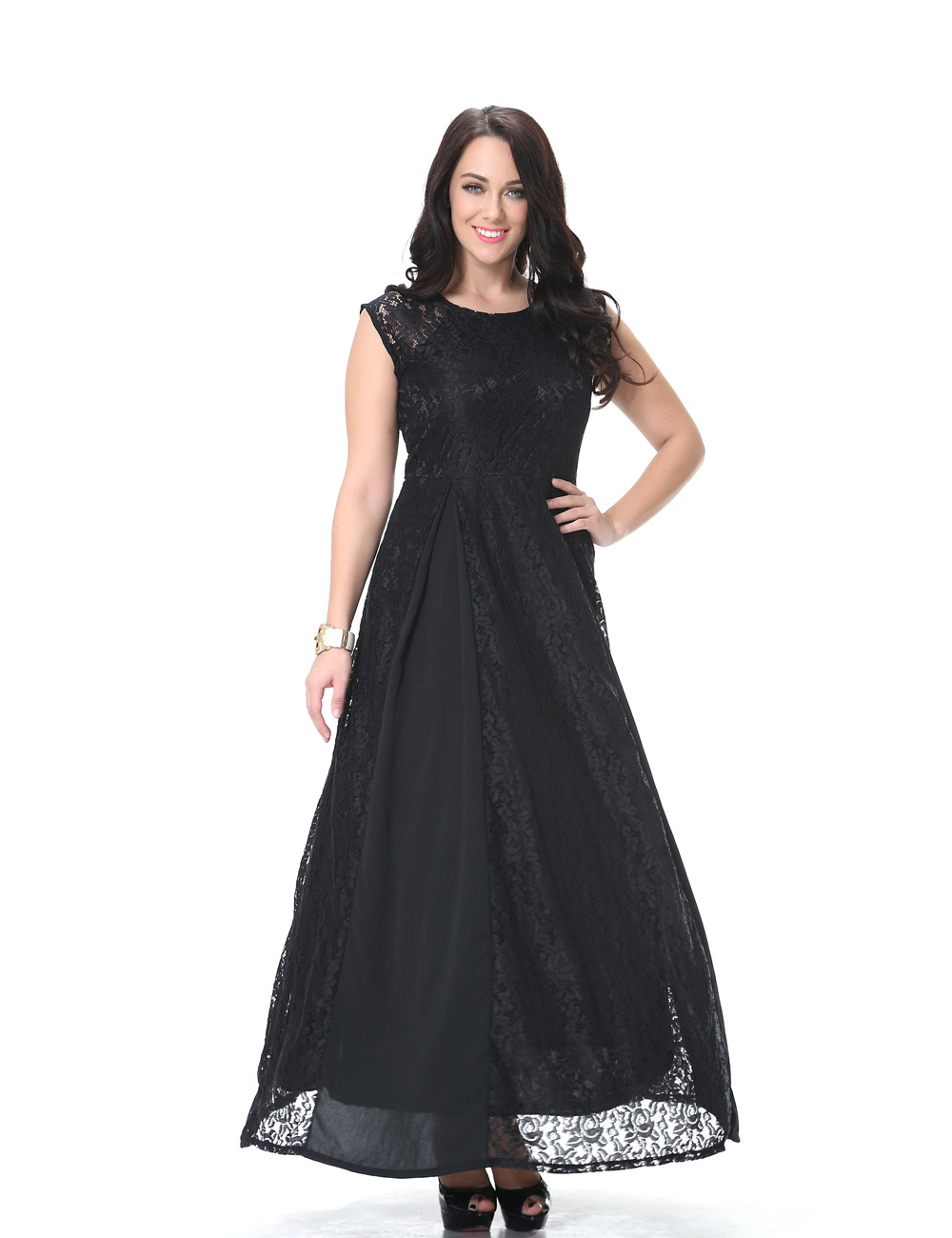 Fashionable Design Ladies Round Neck Maxi Dress Black Lace Prom ...