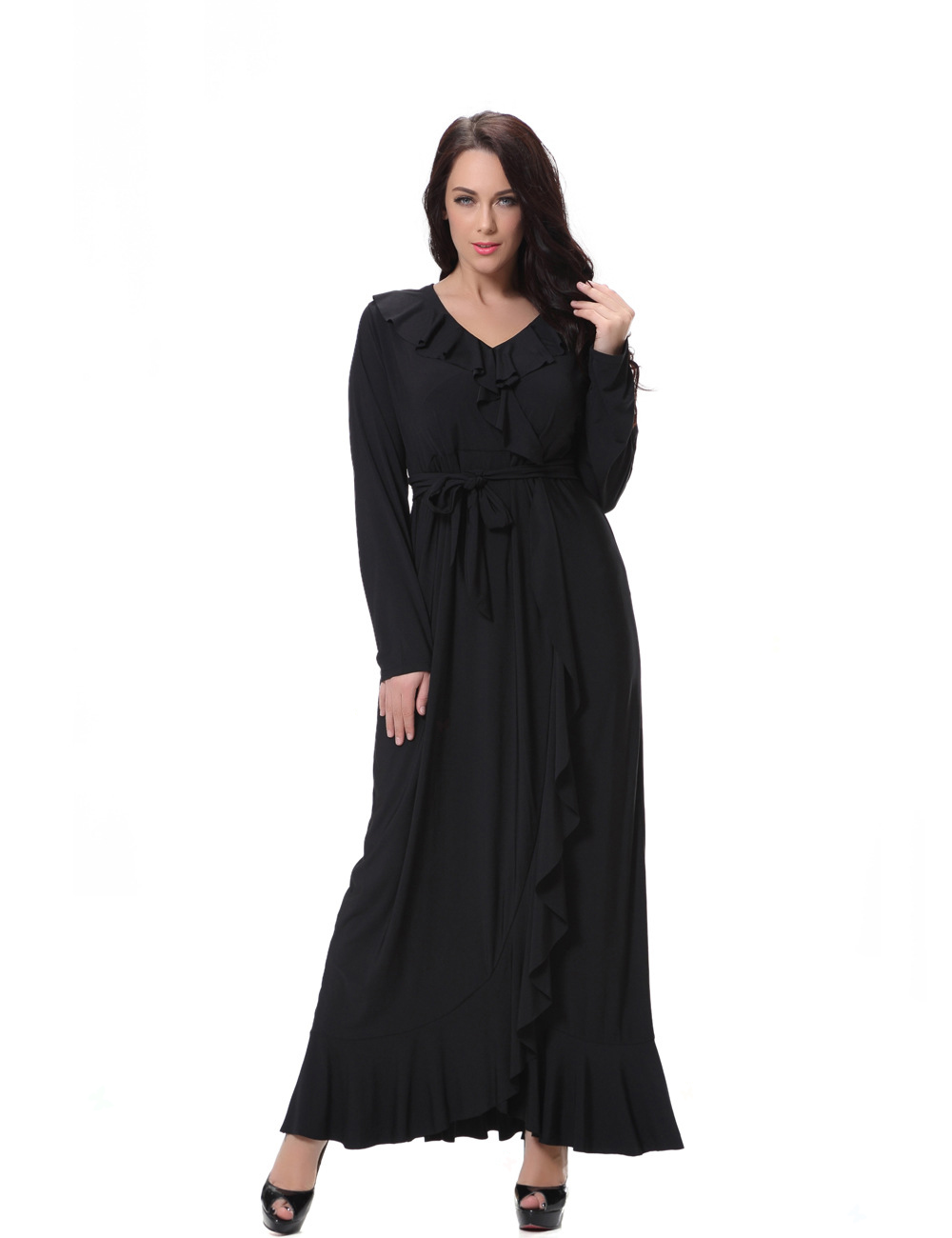 Traditional Women V Neck Long Sleeve Maxi Dress Muslim 8xl Plus Size