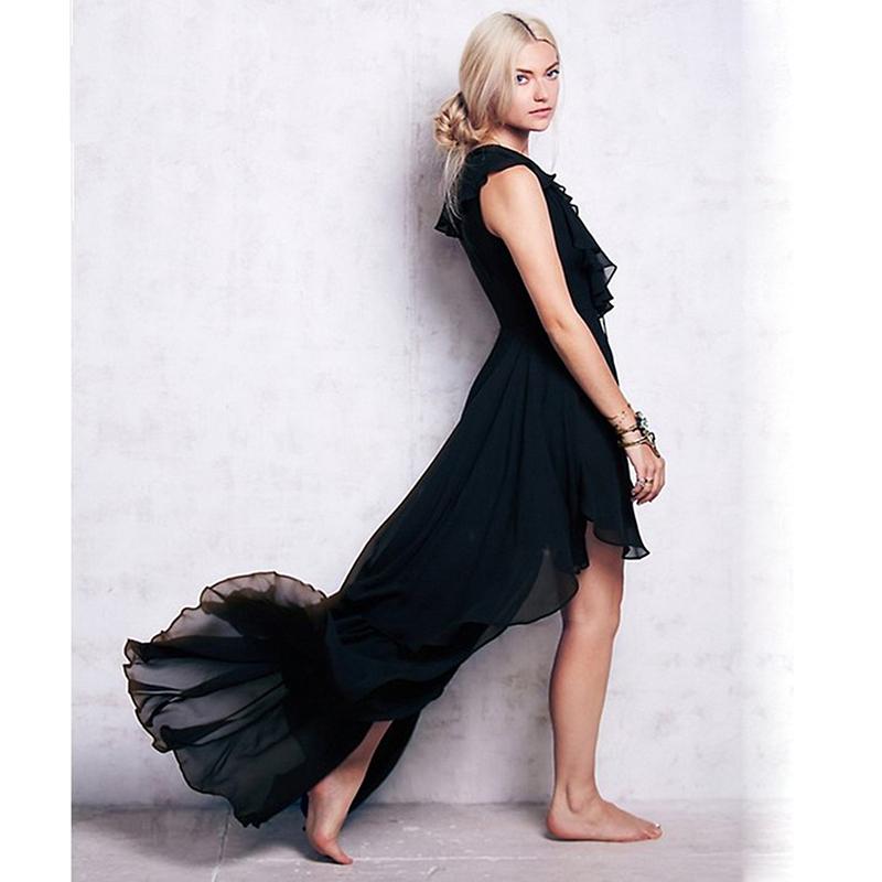 Wholesale Elegant Maxi Bandage Dress Black Front Short Long Back