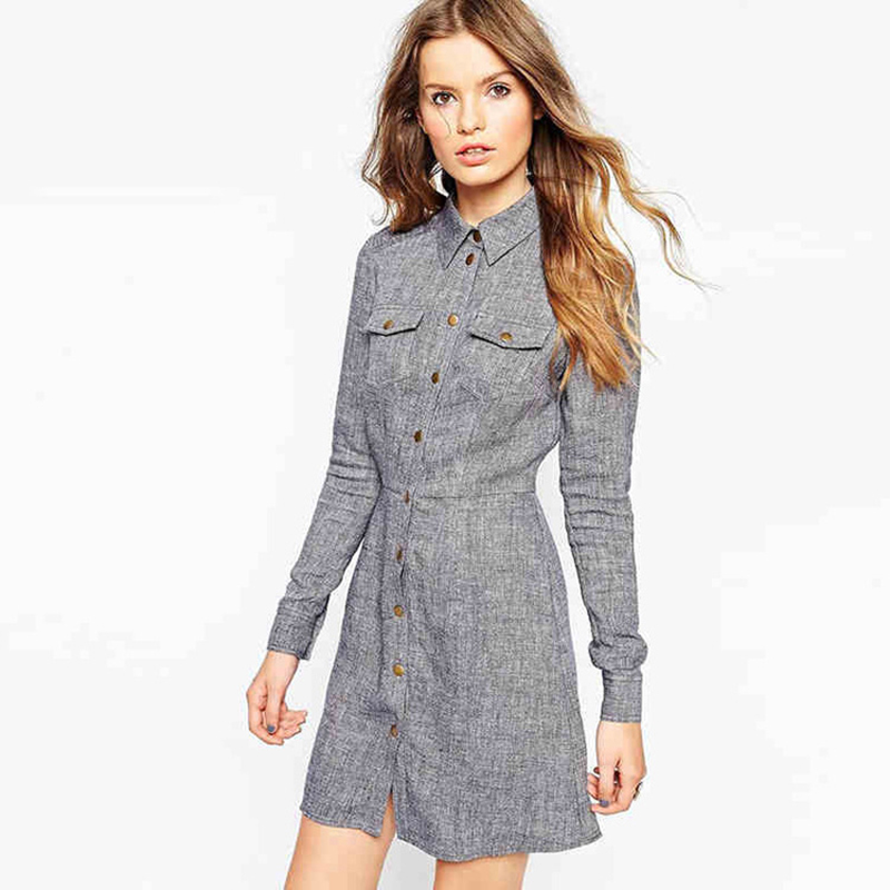 Fashional Women Clothes Long Sleeve Shirt Dress Gray Office Lady Mini Plus Size Polo Collar