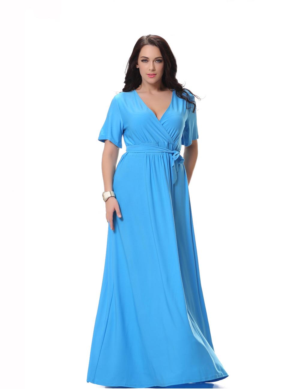 Wholesale Ladies Sky Blue Maxi Dress Short Sleeeve Long Dress Women ...