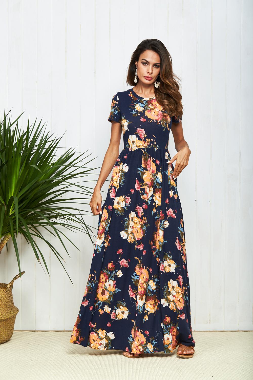 5052066e4114 Outlet wholesale store - Boho Dress Short Sleeve Floral Print Long Dress  Women Summer Pocket Elegant Dresses chic Rode Maxi Dress vestidos Beachwear  2018 ...