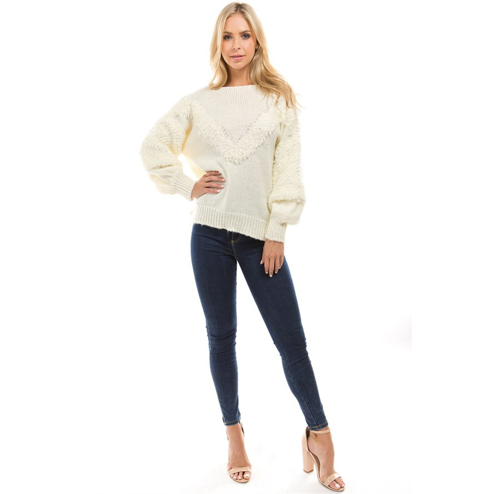 Outlet wholesale store , 2018 Autumn Women Sweater Long Puff Sleeve Knit  Pullovers feminino Yellow Casual Faux Woolen Knitted Sweaters Oversized  mujer