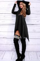 Women's Asymmetric Hem Long Sleeve Hoodies Sweatshirts Dress Loose Casaul Tunic Tops