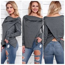 Dark Gray Color New Womens Strapless Long Sleeve Hoodie Coats