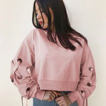 Women's Casual Loose Solid Pink Round Neck Solid Pullover Blouse Lace-up Sleeve Crop Top Sweater for Fall