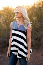 Hot Sale Ladies Sleeveless Tank Top Demin Cotton Stripe Women Top Women Female Summer Apparel