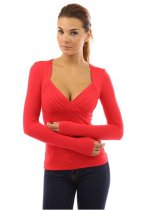 Fashion Sexy Autumn Pleated Parchwork Slim Deep-V Neckline Long Sleeve T Shirt