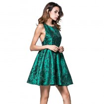 Hot sale women sleeveless short dress jacquard weave princess dress adults plus size green dress