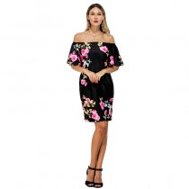 Wholesale Female Off Shoulder Short Dress Mini Dress Rose Flower Fancy Dress Plus Size Women Dresses Ladies
