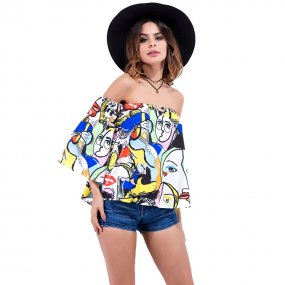 New arrival Summer half sleeve t-shirt scrawl off the shoulder t-shirt wholesale sexy women clothes
