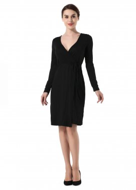 Women Deep-V Long Sleeve Mini Dress