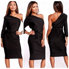 Long Sleeve Off One Shoulder Loose T Shirt Dress