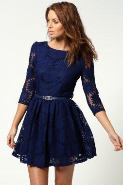 High Quality Lace  Mini Dress Shirt With Belt