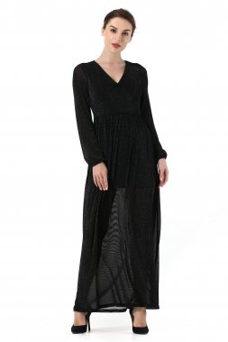 Autumn Long Sleeve Elastic Evening Dress