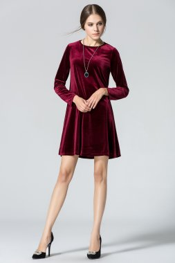 Autumn New Style Loose A-Line Round Neckline Long Sleeve High Quality One-Piece Dress