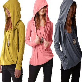 Pure Color Long Sleeve T-Shirt With Hood