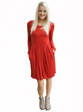 Factory Sale  Trendy Autumn Round Neckline Long Sleeve Pleated Boady Slim Dress