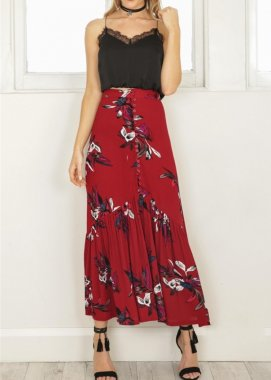 Fashion Design Women Dresses Floral Long Skirt Maxi Skirt Ladies Cotton Long Skirt Summer Cotton And Linen