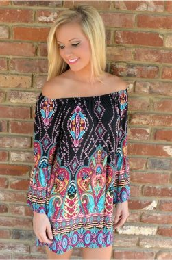 Hot Sale Women Boho Beach Dress Print Long Sleeve Mini Dress Off Shoulder Design Plus Size