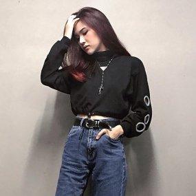 Women's Unique Elastic Drawstring Hem High Neck Long Sleeve Crop Top Sweatshirt with metal buckle sleeve