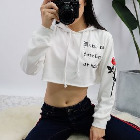 Womens Long Sleeve Unique Floral Letter Printed Drawstring Hooded Sweatshirts Crop Top