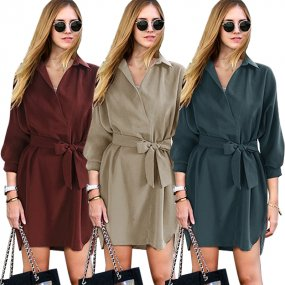 New Design Women Lapel Half Sleeve Dress Shirt Lacing Loose Fit Dress Ladies Autumn Plus Size