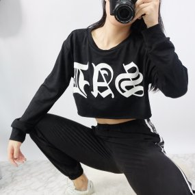 Women's Causal Loose Solid Black Letters Printed Midriff Cropped Tops Sporty Sweatshirts for Autumn