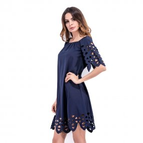 Fashion design hollow out lace dress women off shoulder mini dress plus half sleeve