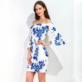 Designer Blue And White Porcelain Bodycon Mini Dress Plus Size Off Shoulder Cocktail Dress