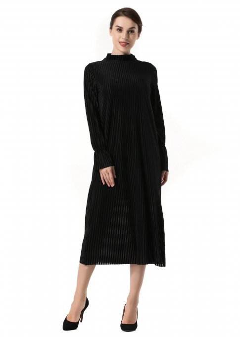 Autumn Long Sleeve Pleuche  Loose Evening Dress With Belt