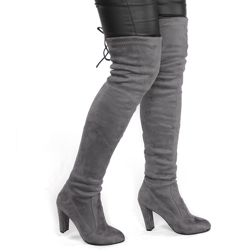 aef95975bf3 US  56 - Women Faux Suede Thigh High Stretch Boots Flock Sexy Overknee High  Heels Shoe - www.onebling.com