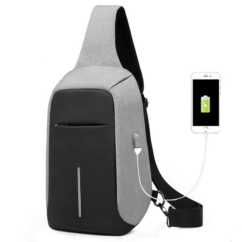 Us 47 25 Anti Theft Hidden Zipper Chest Bag Waterproof Sling External Usb Port Laptop Outdoor Riding Travel Www Onebling