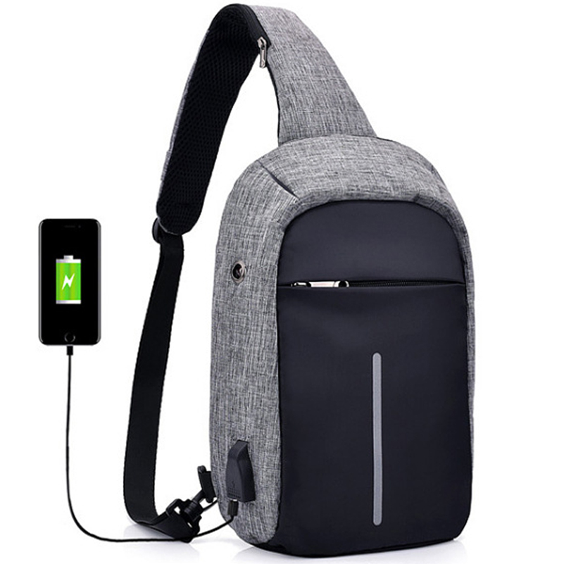 Onebling External Usb Charging Port Laptop Bag Men Sling Women Chest Cycling Sports With Headphone Jack
